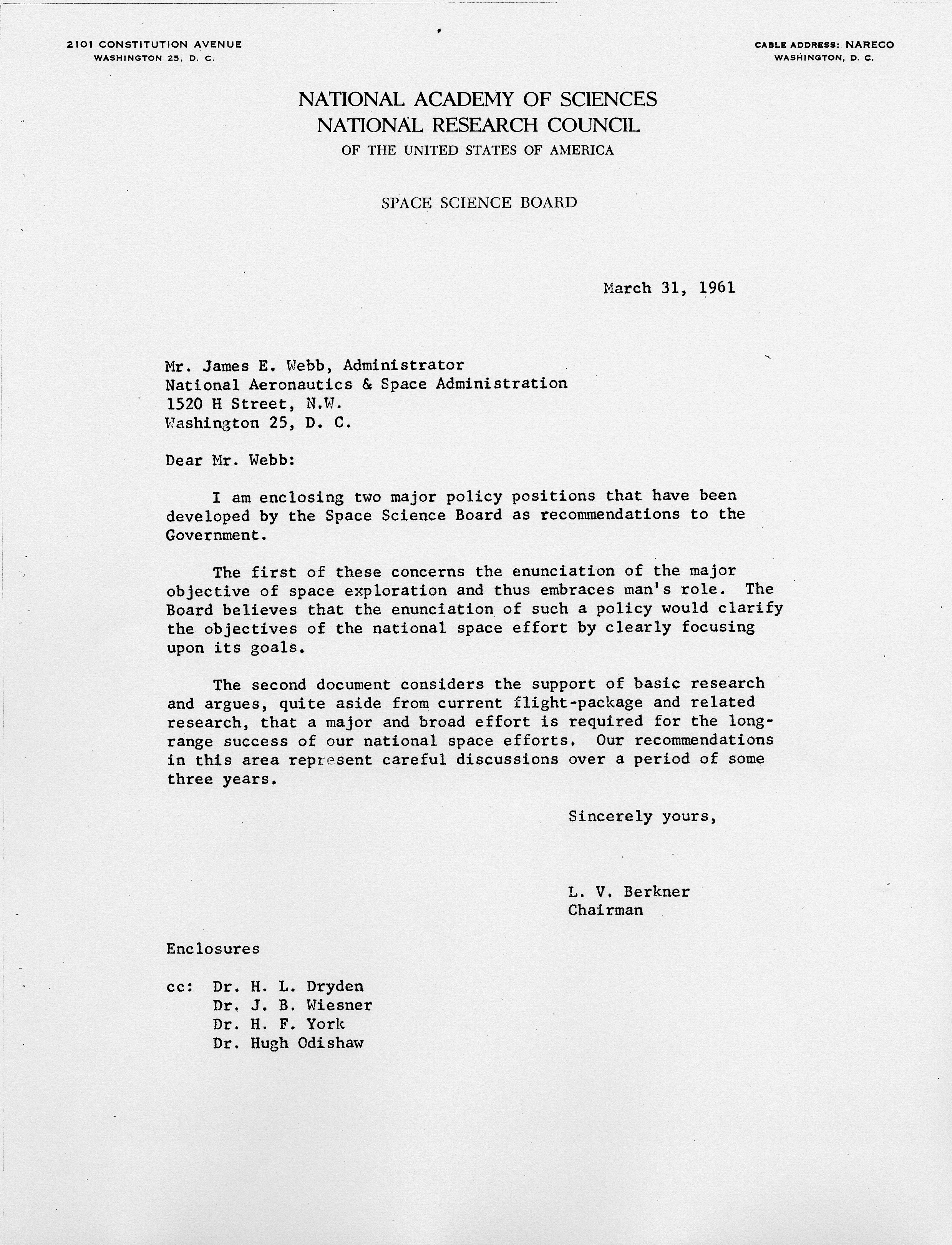 space science board 31 march 1961 letter report to nasa